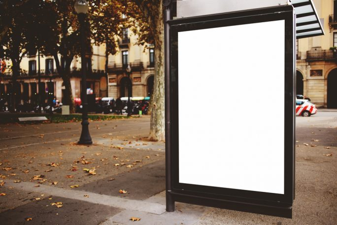 billboard at bus stop