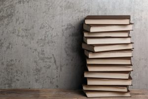 stack of self published books