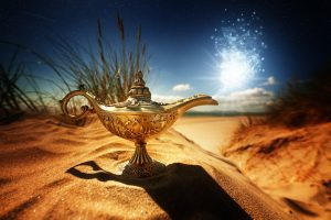 Magic lamp in the middle of a desert.
