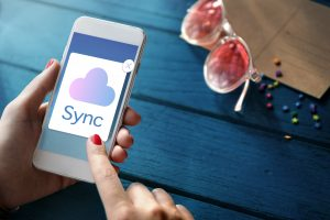 cloud sync on a cell phone screen