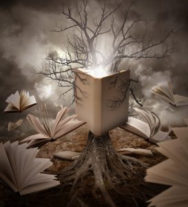surreal landscape with books
