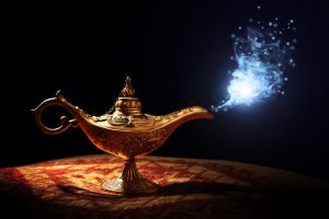 magic lamp with sparkly smoke coming out