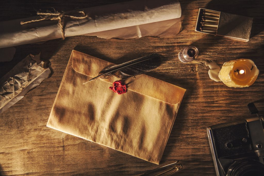 mysterious envelope with wax seal