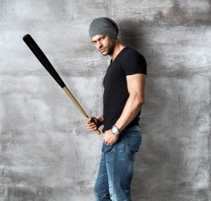 bad guy with baseball bat