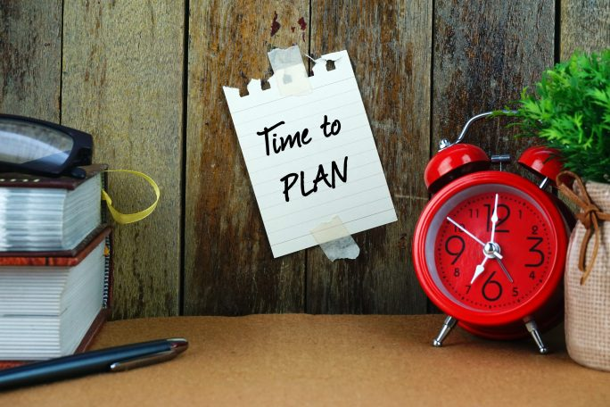 time to plan note and alarm clock