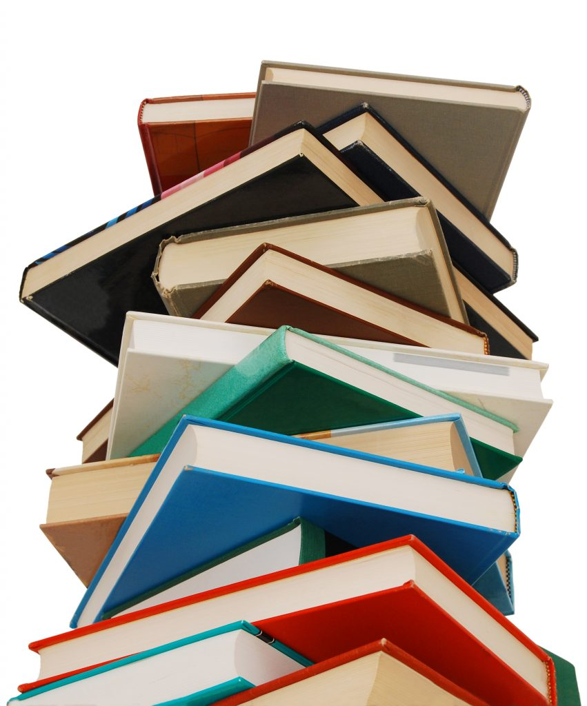 teetering stack of books